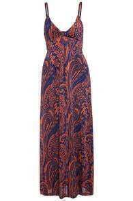 Spaghetti Strap Paisley Print Red Maxi Dress