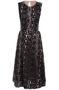 Waist Hollow Floral Crochet Black Lace Dress