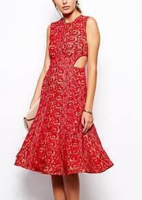 Waist Hollow Floral Crochet Red Lace Dress