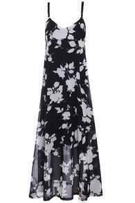 Spaghetti Strap Florals Black Dress