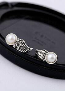 Retro Silver Bead Wing Stud Earrings