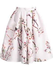 jupe plissé floral -blanc