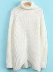 High Neck Loose Knit White Sweater