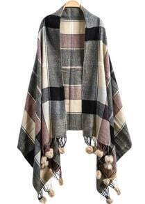 Plaid Twisted Ball Tassel Scarve