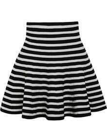 Striped Ruffle Black and White Skirt