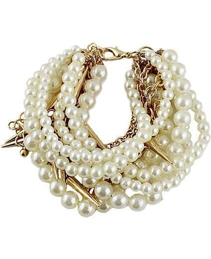 Gold Pearl Rivet Multilayers Bracelet pictures