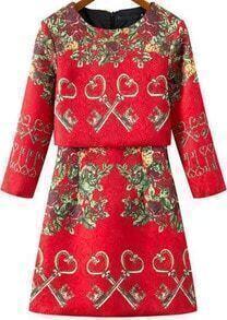 Key Print A-Line Red Dress