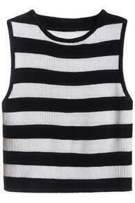 Sleeveless Striped Knit Black Tank Top