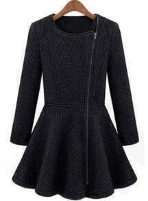 Zipper Ruffle Woolen Black Coat