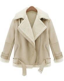 Zipper Lapel Wool Coat