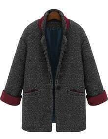 Single Button Pockets Coat