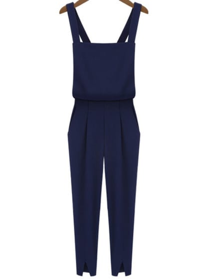 Criss Cross Strap Split Navy Jumpsuits