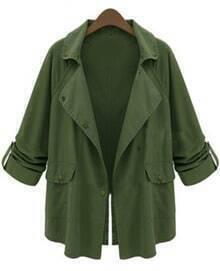 Notch Lapel Pockets Green Coat