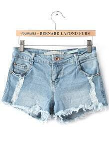 Vintage Ripped Fringe Denim Shorts