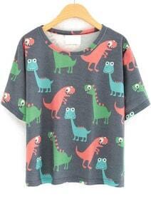 T-Shirt mit Cartoon Muster, grai