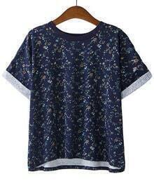 Floral Loose Navy T-Shirt