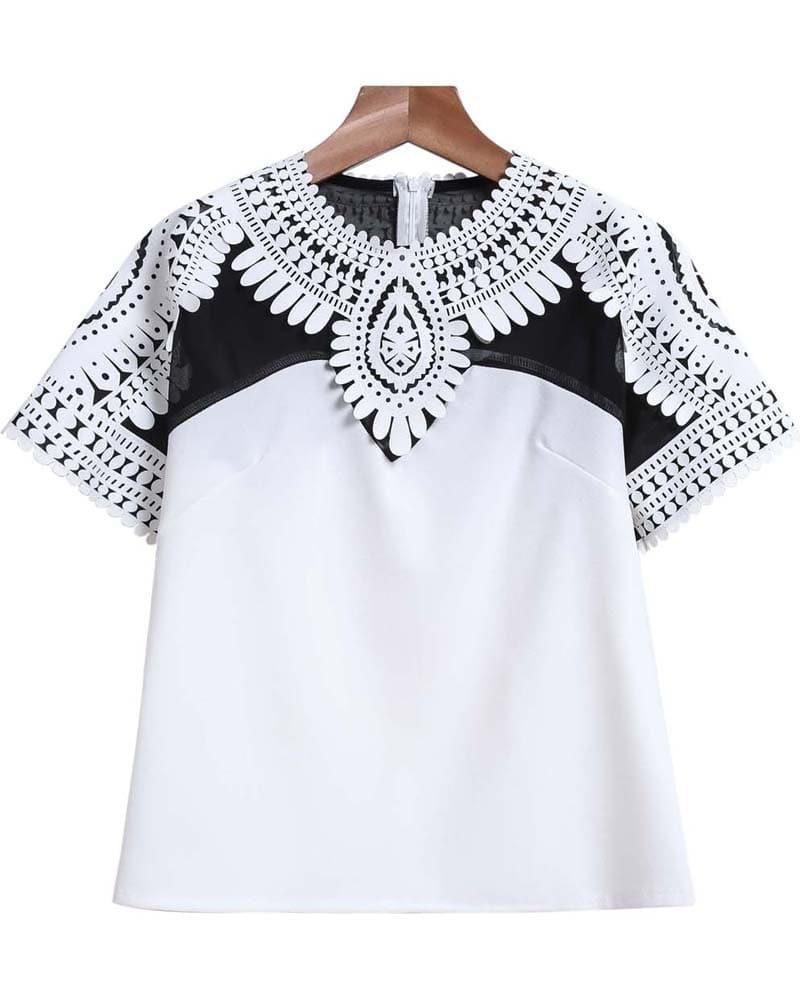 Floral Crochet Crop T-Shirt