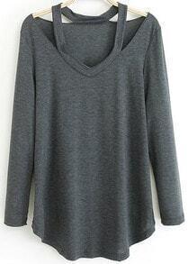 Halter Loose Grey T-Shirt