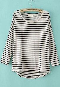 Striped Dipped Hem T-Shirt