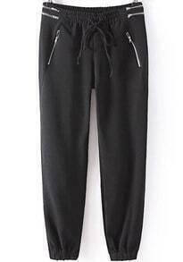 Elastic Drawstring Waist Zipper Pant