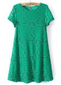 Hollow Lace Loose Green Dress