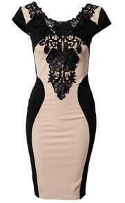 Contrast Lace Embroidery Bodycon Dress