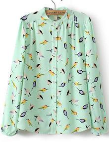 Birds Print Chiffon Green Blouse