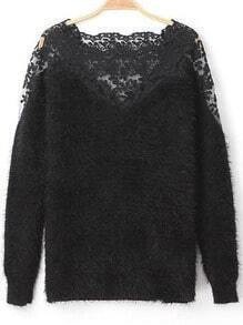 Contrast Lace Mohair Sweater
