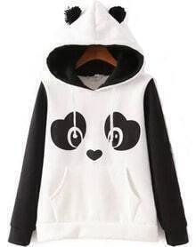 Panda Pattern Fleece Sweatshirt