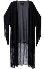 Tassel Long Black Kimono