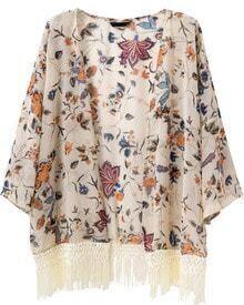 Tassel Floral Loose Chiffon Kimono