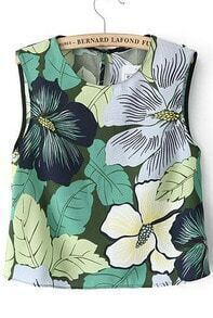 Sleeveless Leaves Print Crop Tank Top