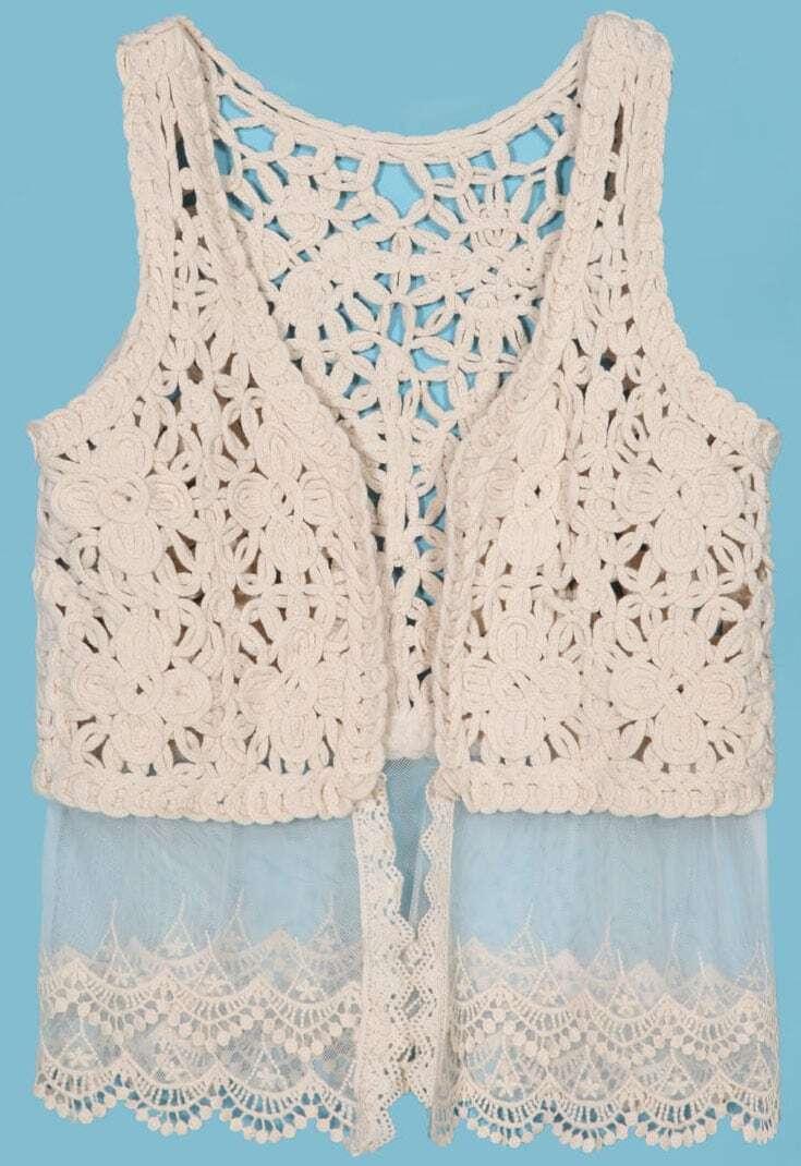 Crochet Contrast Lace Hem Open Tank Top