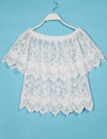 Embroidery Sheer Lace Layered Off the Shoulder Top