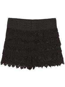 Crochet Layered Lace Black Shorts