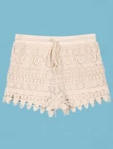 Crochet Layered Lace Drawstring Waist Beige Shorts