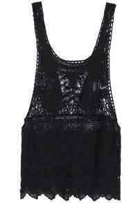 Scoop Neck Crochet Lace Black Tank Top