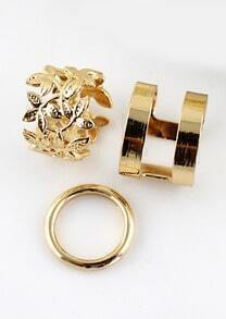 Gold Floral Crochet Three Pieces Rings