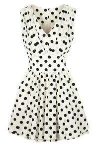 ROMWE V-neck Polka Dots Print Pleated White Dress