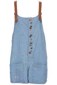 Embroidered Anchor Denim Bib Pants