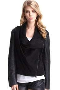 PU Panelled Black Peach Skin Coat