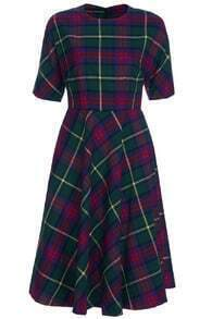 Green Plaid Short-sleeved Maxi Dress