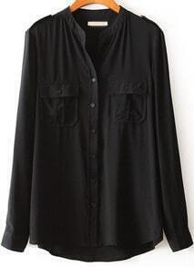 Black Stand Collar Long Sleeve Pockets Blouse