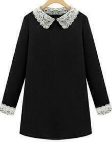 Black Contrast Lace Lapel Long Sleeve Dress