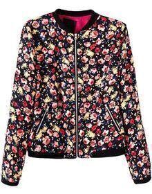 Black Long Sleeve Zipper Pockets Floral Jacket