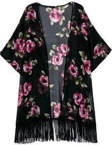 Black Half Sleeve Floral Tassel Loose Kimono