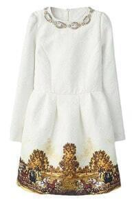 ROMWE Pleated Carriage Print Beaded Lined White Dress