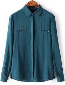 Dark Green Long Sleeve Loose Blouse