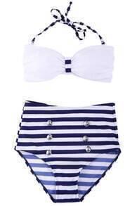 Romwe Blue & White Stripe Print High-waist Halter Bikini