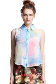 Abstract Drawing Print Blue Blouse